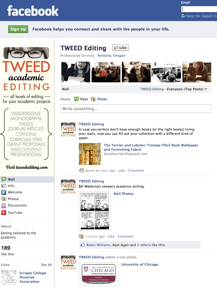 Tweed Academic Editing on Facebook
